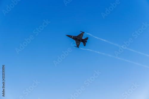 fototapeta na ścianę Thessaloniki, Greece - October 28 2018: Greek Air Force F-16C Block 52 plus jet. Team Zeus fighter flying at 28 October military parade, commemorating the Greek no against Italian 1940 ultimatum.