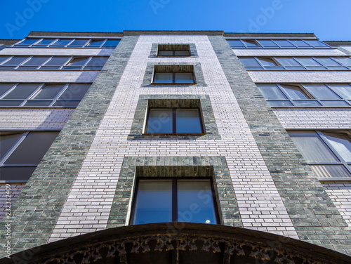 Fragment Of The Facade A Modern Five Story Brick Apartment Building