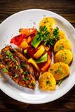 Grilled chicken fillet and vegetables - 232332897