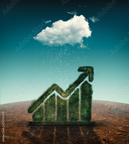 Leinwanddruck Bild Graph made of grass on a field