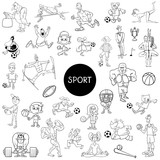 black and white people and sports cartoons - 232333842