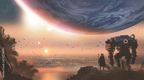 journey concept showing a man with robot looking at a new colony in the alien planet, digital art style, illustration painting