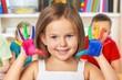 Leinwanddruck Bild - Classroom kindergarten play preschooler preschool school paper