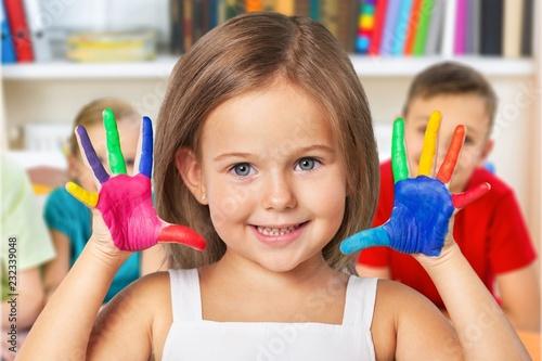 Leinwanddruck Bild Classroom kindergarten play preschooler preschool school paper