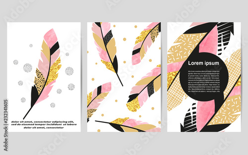 set of card templates with feathers for posters flyers invitations