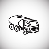 Water transportation truck thin line on white background icon - 232344857