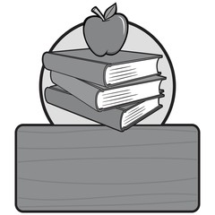 Black and White Back to School Sign - A vector cartoon illustration of a back to school sign concept.