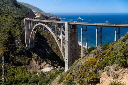 Bixby Creek Bridge  Big Sur California USA . Iconic view, road trip, Highway #1