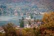 Rive Est du lac d'Annecy et Duingt en automne - 232355890
