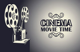 cinema poster with retro film projector background - 232358836