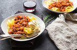 Pappardelle pasta with meat ragout and burrata cheese