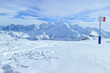 Snowy mountain tops panorama, skiing and snowboarding slopes in French resort of Grand Massif .