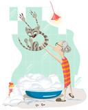 An elderly woman pulls a cat to bathe