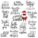 set of 14 santa hand lettering quotes to greeting card, banner, poster, calligraphy vector illustration - 232374643