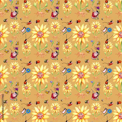 Geschenkpapier, Tapete, Hintergrund, Vorlage nahtloses Muster, seamless pattern, wilde Wiese, Sonnenblumen, Wiesenblumen, Käfer, Hummeln, Bienen, Marienkäfer, Illustration von Kathrin Schwertner