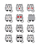 Сute cat icon with different emotions