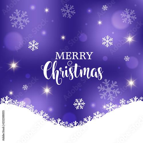Wesołych Świąt fioletowe tło wektor. Zima świąteczna karta z kopii przestrzenią, płatki śniegu, światła.