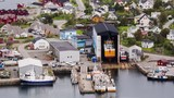 Shipyard and houses in the fishing town of Ballstad, Lofoten islands, Norway. - 232388274