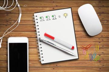 Schreibblock mit Ideen-Skizze © fotogestoeber