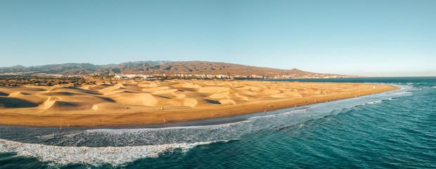Aerial Maspalomas dunes view on Gran Canaria island near famous RIU hotel. © ingusk