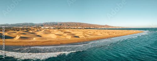 Aerial Maspalomas dunes view on Gran Canaria island near famous RIU hotel.
