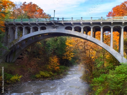 Fridge magnet Bridge Over Water with Fall Trees