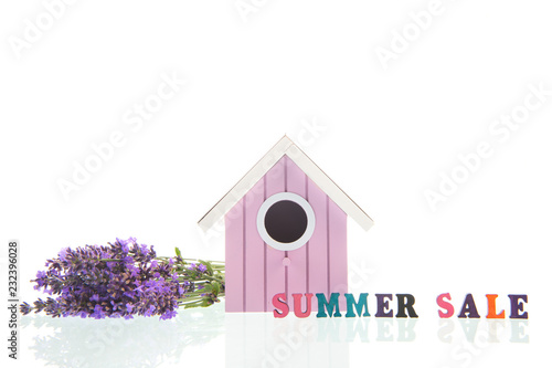 Bouquet Lavender with bird house on white background - 232396028