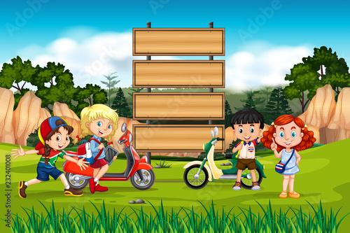 International children on wooden board - 232401008