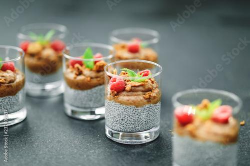 Leinwanddruck Bild Homemade chia pudding vegan recipe