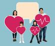 Leinwanddruck Bild - Happy family holding a pink heart icons