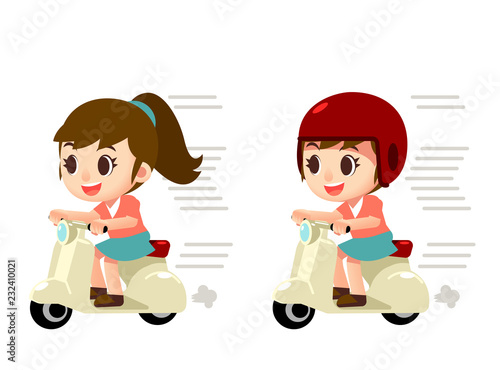 Vector female character riding on a scooter, motorcycle isolated on white background - 232410021