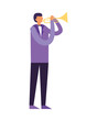 man standing playing trumpet instrument
