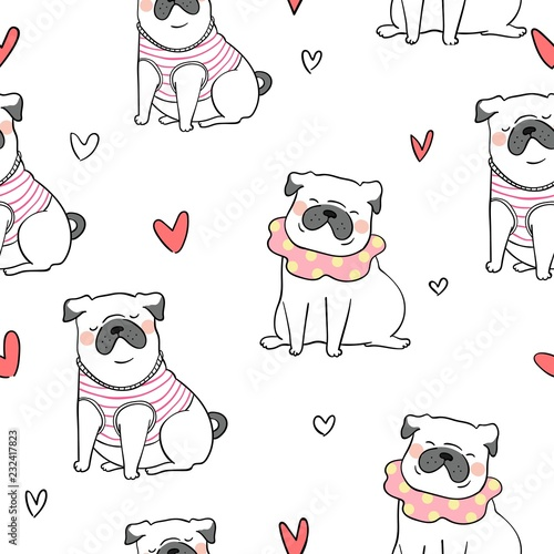 fototapeta na ścianę Seamless pattern background cute pug dog Doodle style