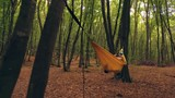 Smooth zoom into somebody reading a book in a hammock in the woods - 232421077