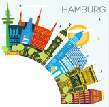 Hamburg Germany City Skyline with Color Buildings, Blue Sky and Copy Space. - 232423689