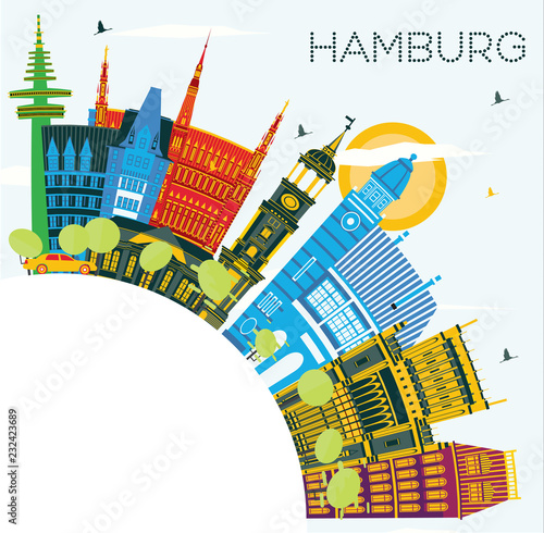 Hamburg Germany City Skyline with Color Buildings, Blue Sky and Copy Space.