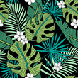 Hand drawn seamless vector pattern with tropical palm leaves and exotic flowers  on black background. Perfect for fabric, wallpaper or wrapping paper. - 232425851