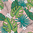 Hand drawn seamless vector pattern with tropical palm leaves and exotic flowers  on pink background. Perfect for fabric, wallpaper or wrapping paper. - 232425866