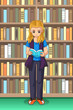 Student Girl Reading in the Library Illustration - 232426031