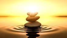 """Постер, картина, фотообои """"zen stones in water"""""""