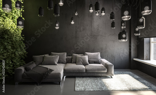 Leinwandbild Motiv sofa in living room