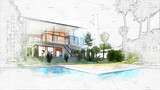 architectural sketch of a house - 232427041