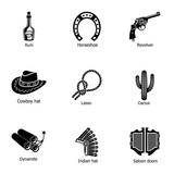 Cowboy land icons set. Simple set of 9 cowboy land vector icons for web isolated on white background - 232427090