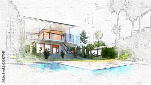szkic architektoniczny domu