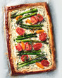 Tart with asparagus and tomatoes - 232433837