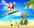 Santa Claus surfing on his surfboard with his reindeer on a tropical beach making sand castles with palm trees and parrot Christmas cartoon sign background.