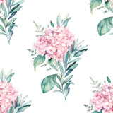 Watercolor seamless pattern. Vintage print with hortensia flowers and eucalyptus branches. Hand drawn illustration - 232435400