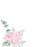 Watercolor floral card with eucalyptus branch, hydrangea and fern. Hand drawn botanical illustration. Art background - 232435458