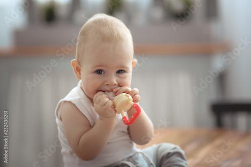 Leinwandbild Motiv Baby first teeth gnaws fruit in safe device, food