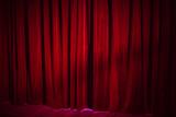 Dark red vintage velvet curtain in theatre - 232439060